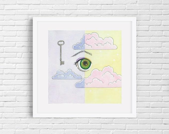 Key Eye Clouds Print | Wall Art