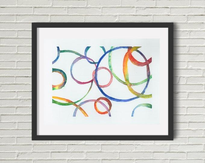 Rainbow Rings Art Print   Wall Art