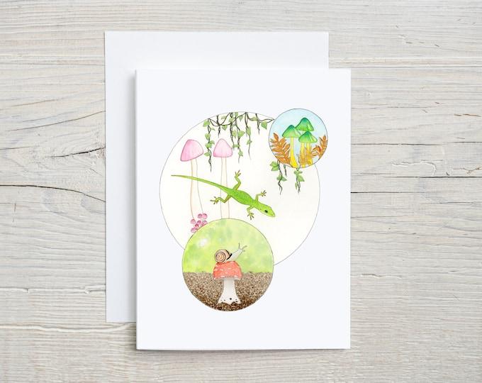 Lizard Mushroom Snail Note Card