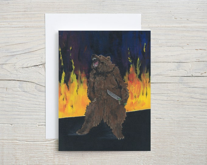 Bear with Knife Note Card