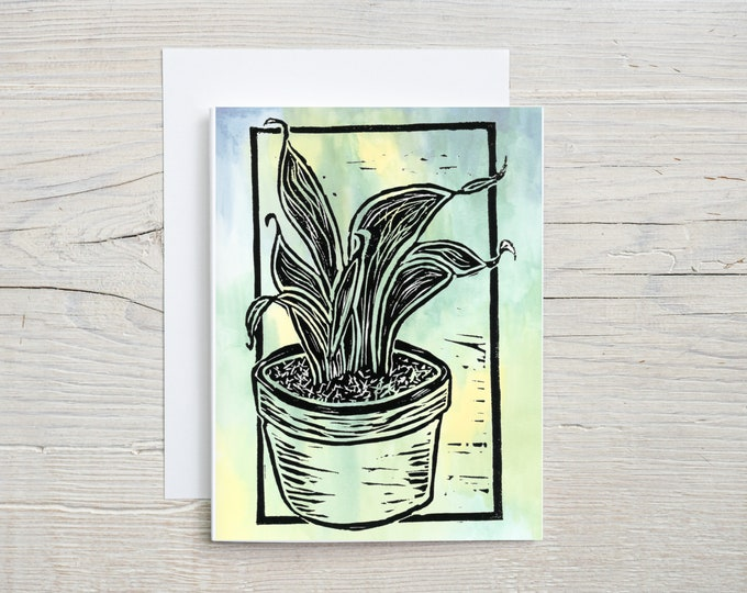 Snake Plant Watercolor Note Card
