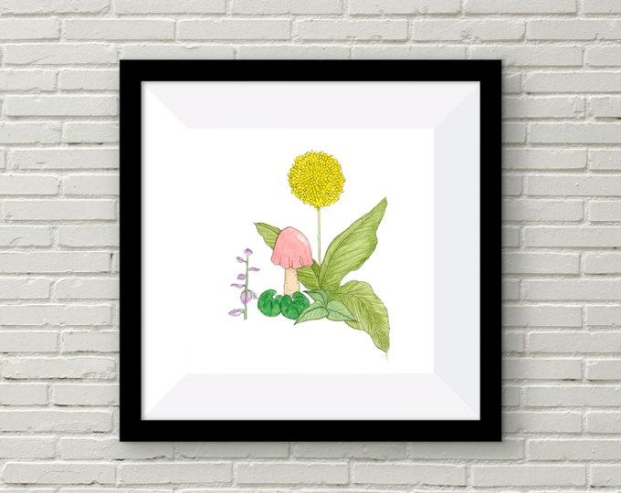 Dandelion Mushroom Print | Wall Art