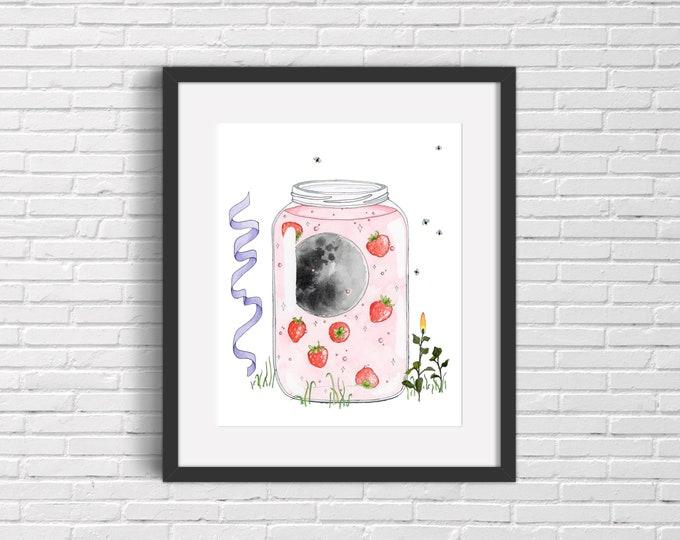 Strawberry Moon Jam Art Print | Wall Art