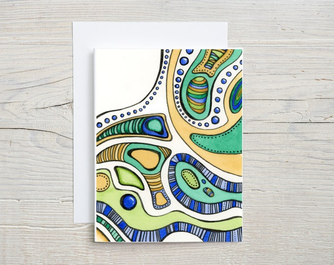 Abstract Blue Green Gold Note Card