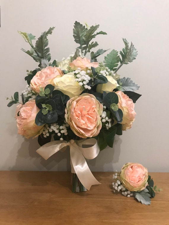 Silk Flowers Bridal Bouquet Buttonhole Ivory Roses With Etsy