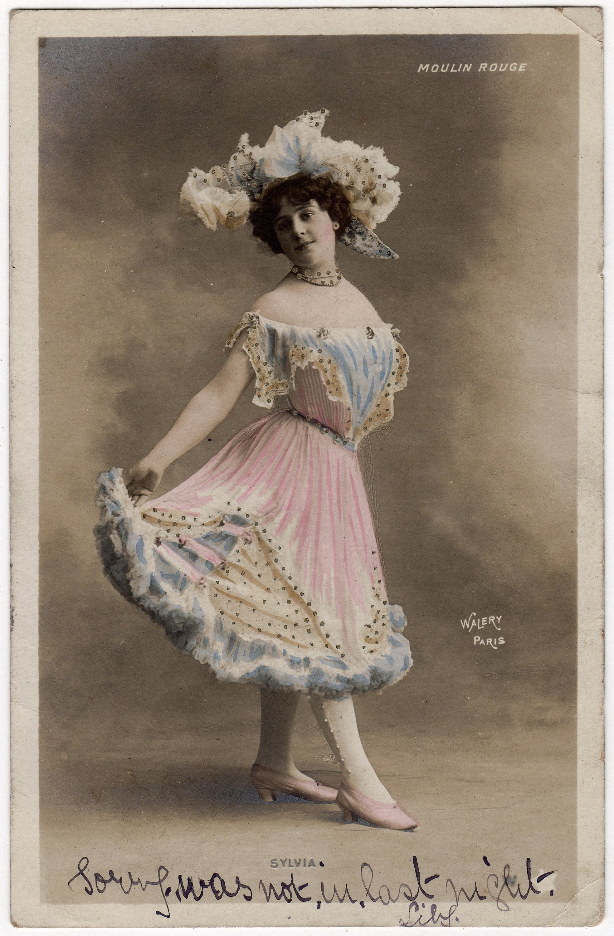 Vintage Photo Moulin Rouge Hand Tinted Portrait Of Etsy