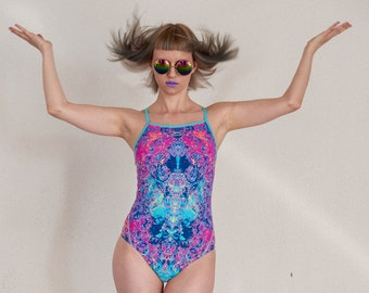 5fa4b620437 Vintage unworn medium leg trippy psychedelic swimsuit. One-piece violet  purple blue bathing suit.
