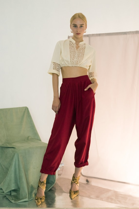 Vintage high waisted dark red rayon wide tapered t