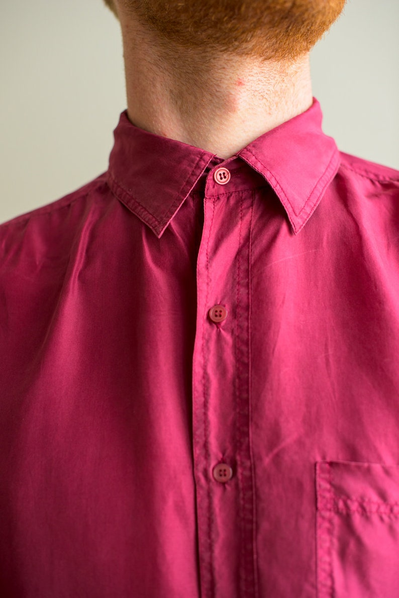 Vintage silk long sleeved 90s button up collared purple magenta shirt size L .