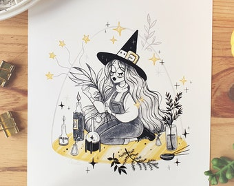 INKTOBER Herbologist Illustrated Art Print - Cute Witch Art Print Room Decor Art Wall Decoration Black and White Decor Poster illustration