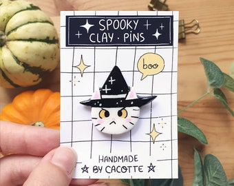 Handmade Spooky Clay Pins Halloween Inktober Theme Black and White Unique pins Illustrated Inktober Print and Goodies Wizard Cat Magic