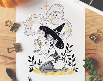 INKTOBER Love Potion Illustrated Art Print - Cute Witch Squad Art Print Room Decor Art Wall Decoration Black and White Poster illustration