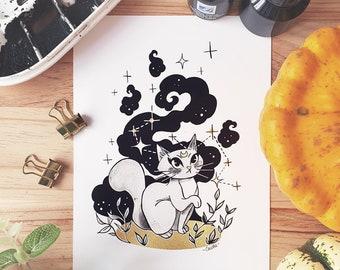 INKTOBER 27 - SPIRIT - Illustrated Art Print - Cute Art Print Halloween Room Decor - Cacotte Illustrated Print - Black & White Decor