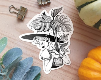 Cute Plant Lover Inktober Girl Vinyl Stickers Shiny Kawaï aesthetic stickers for Laptop Phone Case Ipad Case and Planner manga Illustration