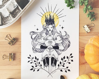 INKTOBER Knight Illustrated Art Print - Cute Warrior Girl Art Print Room Decor Art Wall Decoration Black and White Poster illustration