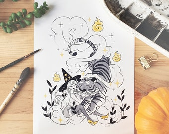 INKTOBER Familiar Illustrated Art Print - Cute Tiger Witch Art Print Room Decor Art Wall Decoration Black and White Poster illustration