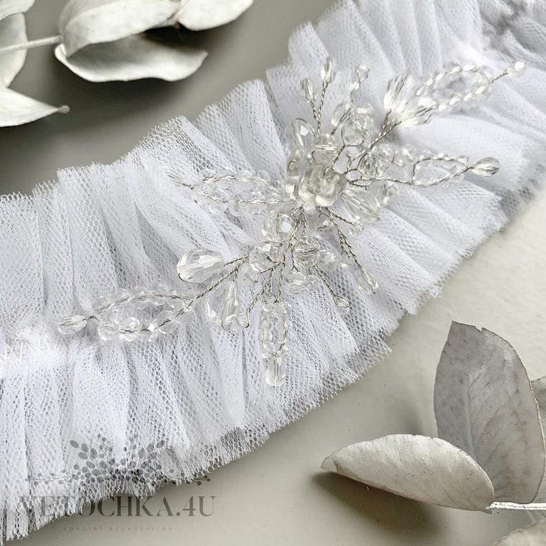 Personalized garters for wedding Garter for bride white Bridal tulle garters Bridal shower gift Prom wedding marvel garters
