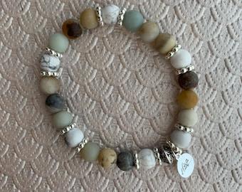 Matte Amazonite & Howlite Bracelet | Healthy Relationships, Compassion, Bravery, Loving Energy