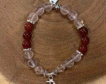 Carnelian and Rose Quartz Ohm Bracelet