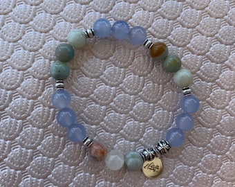 Blue Chaceldony & Amazonite Bracelet | Healthy Relationships, Compassion, Bravery, Loving Energy