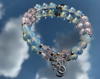 Opalite & Rose Quartz Bracelet   Loving Energy   Psychic Abilities   Communication   Love   Pink and White   Magical   Personal Power