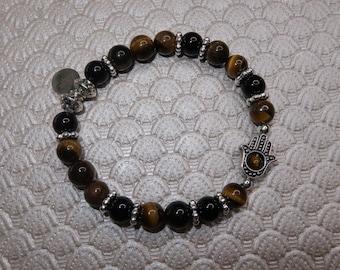 Tiger's Eye & Black Jasper Hamsa Bracelet | Motivation, Creativity, Grounding, Peace, Healing |Handmade Bracelet | Intuition