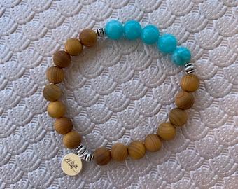 Malaysian Jade and Cedar Bracelet
