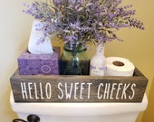 Hello Sweet Cheeks Box, Bathroom Wood Box, Toilet Paper Holder, Funny Bathroom Box, Painted Wood Box, Housewarming Gift, Toilet Caddy Decor