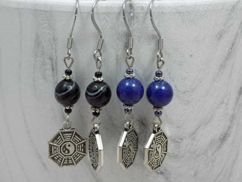 Yin Yang Black Agate or Blue Stone Antique Silver Dangle Earrings with Choice of Hooks