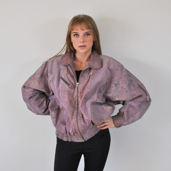 1980's vintage lilac leather bomber jacket
