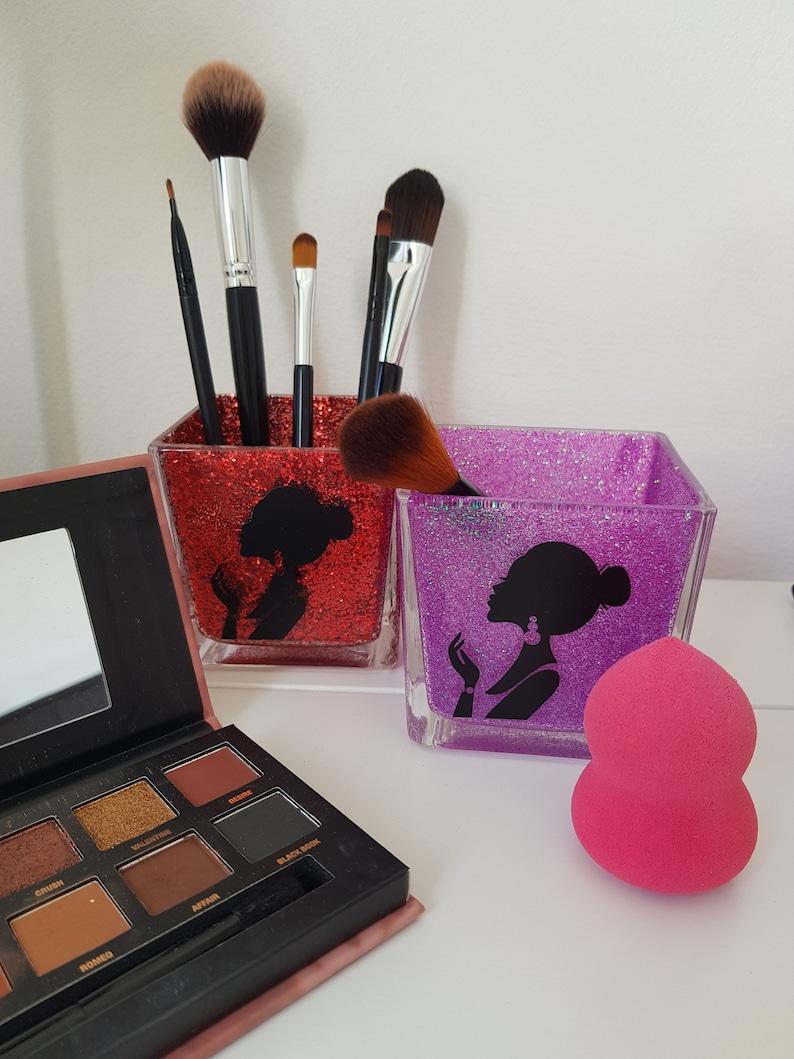 Glitter Makeup Brush HolderMakeup Organizer Cosmetic Brush Purple