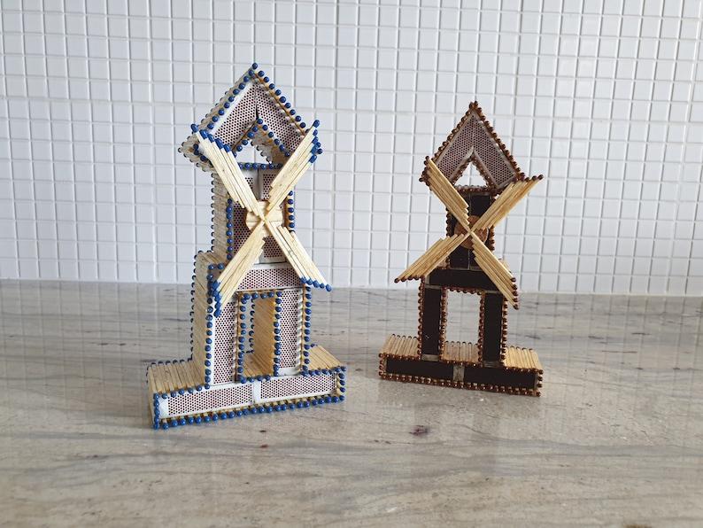 Windmill Decoration Ornaments Handmade Homemade Matchbox image 0