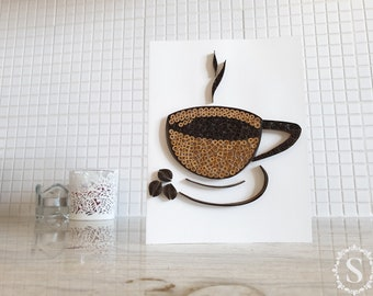 Cup Of Coffee Quilling Card, Handmade Greeting Card, Coffee Beans, The Smell Of Coffee, For Coffee Lovers, Coffee Time, Quilling Idea