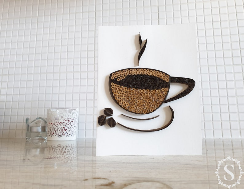Cup Of Coffee Quilling Card Handmade Greeting Card Coffee image 0