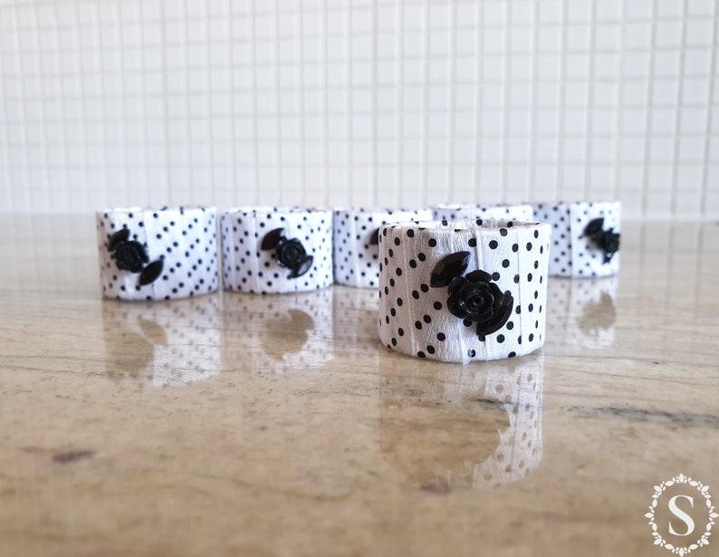 Homemade White Napkin Rings Set Of Six Rings Table image 0