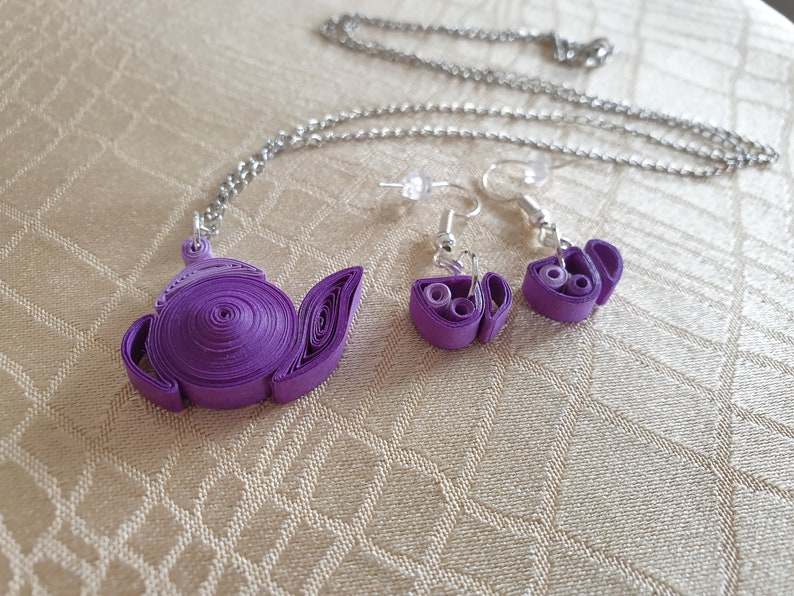 Purple Set Necklace And Earrings Quilling Jewelry Teapot And image 0