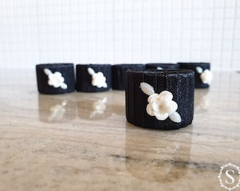 Handmade Black Napkin Rings, Set Of Six Rings, Table Decor, Cardboard Rings, Romantic, Wedding, Dining Table Sets, Celebration, White Roses