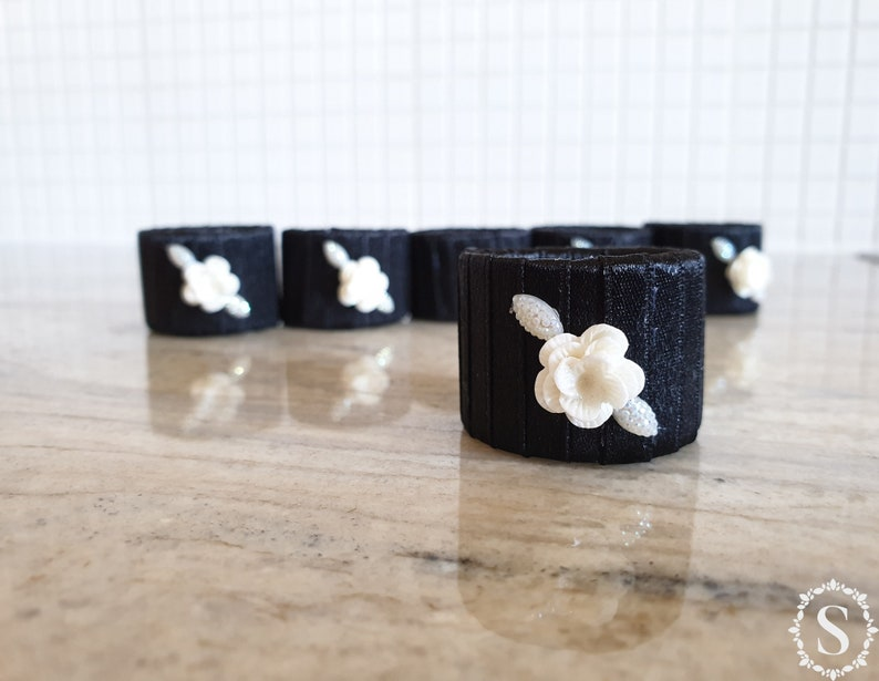 Handmade Black Napkin Rings Set Of Six Rings Table Decor image 0