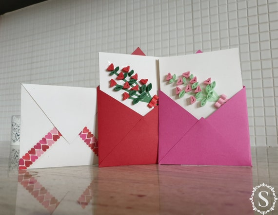 Birthday For Her For Him Man Hearts Sending You Love Mom Handmade Card Girlfriend Envelope With Love Greeting Card Women/'s Day