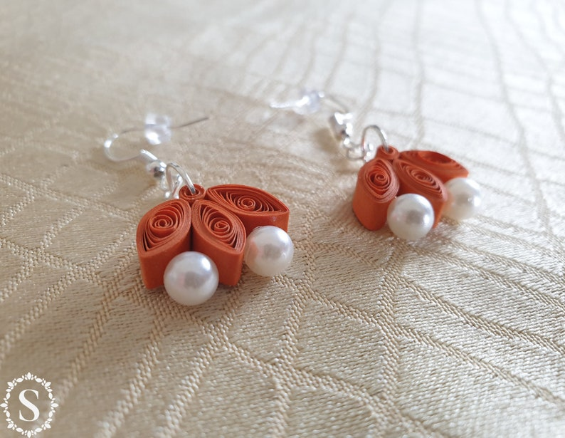 Quilling Earrings Handmade Paper EarringsWhite Pearls image 0