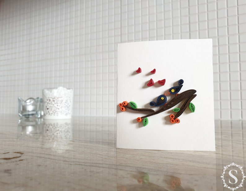Birds Kissing On A Tree Branch Quilling Card Greeting Card image 0
