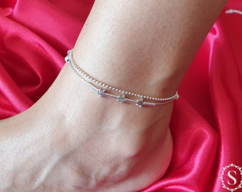 925 Sterling Silver Anklet Bracelet, For Women, Foot Jewelry, Adjustable Anklet Bracelet, Double Chain, Star Pendant, Dolphin Pendant