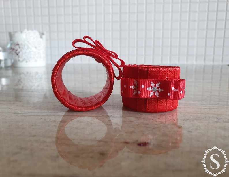 Christmas Handmade Red Napkin Rings New Year Napkin Rings image 0