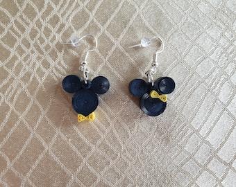 Mickey And Minnie Mouse Earrings,Disney Earrings, Quilling Earrings, Handmade Paper Earrings, Drop Earrings, Jewelry, For Her, Girl, Sister