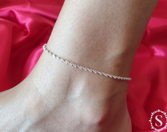 925 Sterling Silver Anklet Bracelets, Foot Jewelry, Adjustable Anklet Bracelet, Fashion Twisted Weave Chain, Twisted Chain, For Women