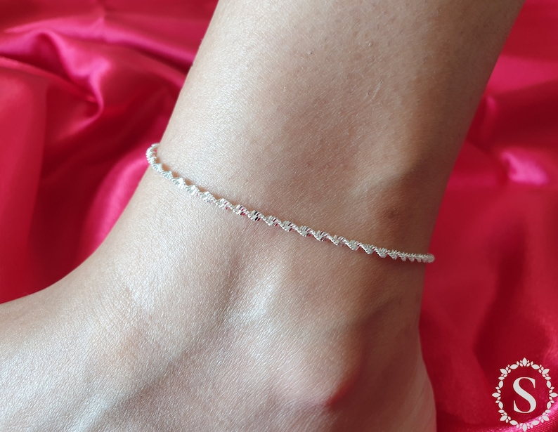 925 Sterling Silver Anklet Bracelets Foot Jewelry Adjustable 1.
