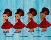 African American Mexican Red Dress Fiesta Colors Baby Girl Babies of Color Set Afro Clipart Instant Download