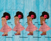 African American Mexican Pink Dress Fiesta Colors Baby Girl Babies of Color Set Afro Clipart Instant Download