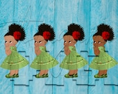 African American Mexican Green Dress Fiesta Colors Baby Girl Babies of Color Set Afro Clipart Instant Download