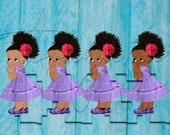 African American Mexican Purple Dress Fiesta Colors Baby Girl Babies of Color Set Afro Clipart Instant Download